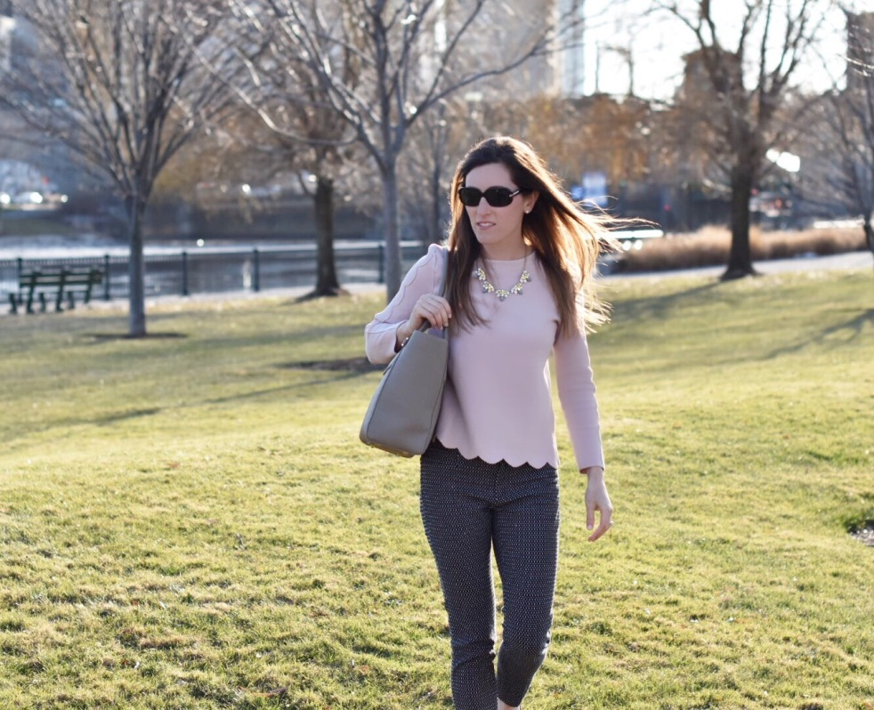 light pink scalloped blouse and navy pants