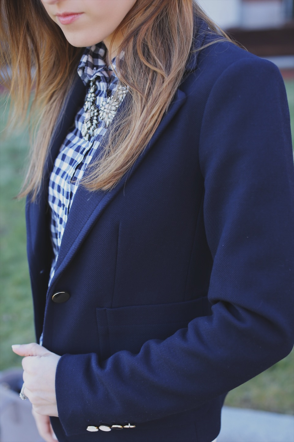 ann taylor navy blazer and gingham